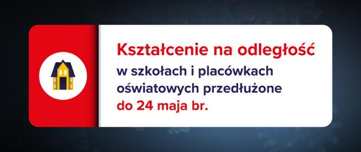 Kształcenie na odległość w szkołach i placówkach przedłużone do 24 maja br.